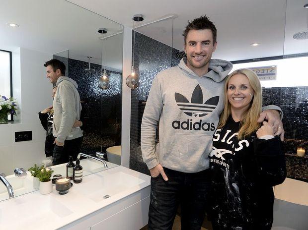 Darren and Deanne Jolly pictured in their winning bathroom.