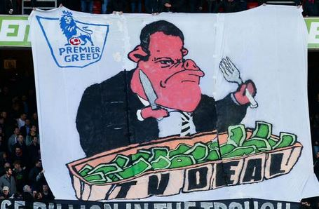Crystal Palace fans unfurl banner decrying