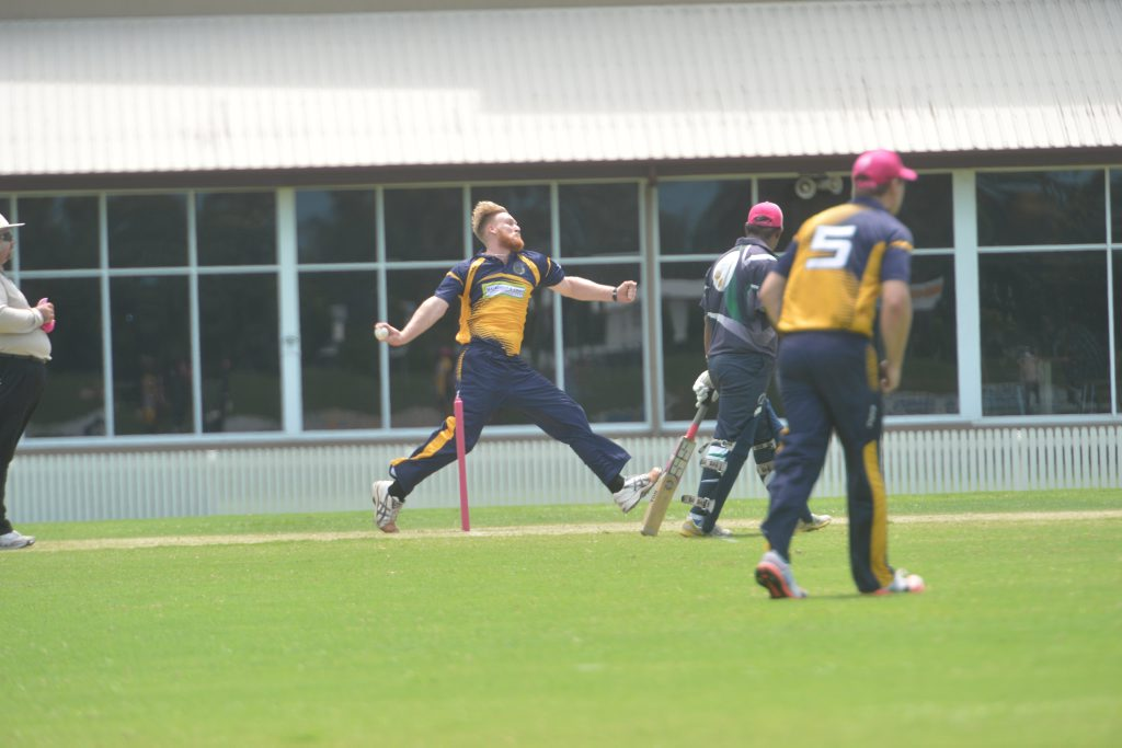 Liam Burgess fires down a delivery against Brothers in Mackay cricket competition.