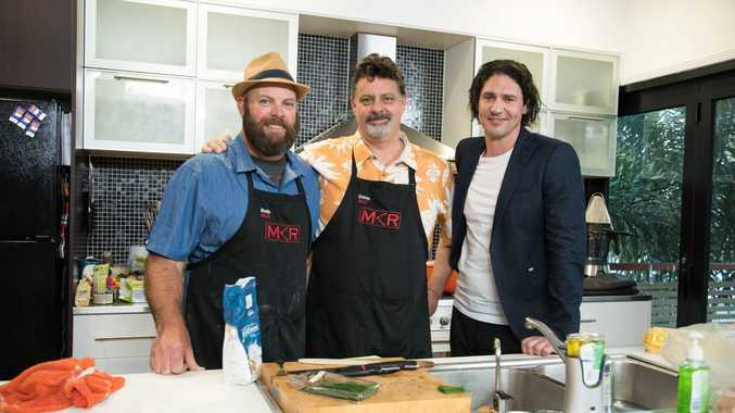 Rob and Dave with judge Colin Fassnidge during their instant restaurant in Sandgate.