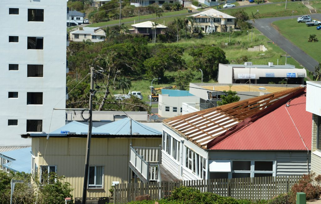 Damage to roofs was widespread along the Capricorn Coast. Photo taken in Yeppoon. Photo: Chris Ison / The Morning Bulletin
