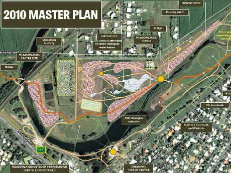 The map that was formulated in 2010 showing the plans for the Mackay Regional Botanic Gardens.