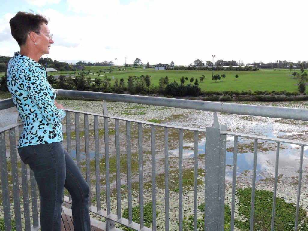 Cr Theresa Morgan looks across to the Meadowlands side of the Mackay Regional Botanic Gardens, which is awaiting further development.