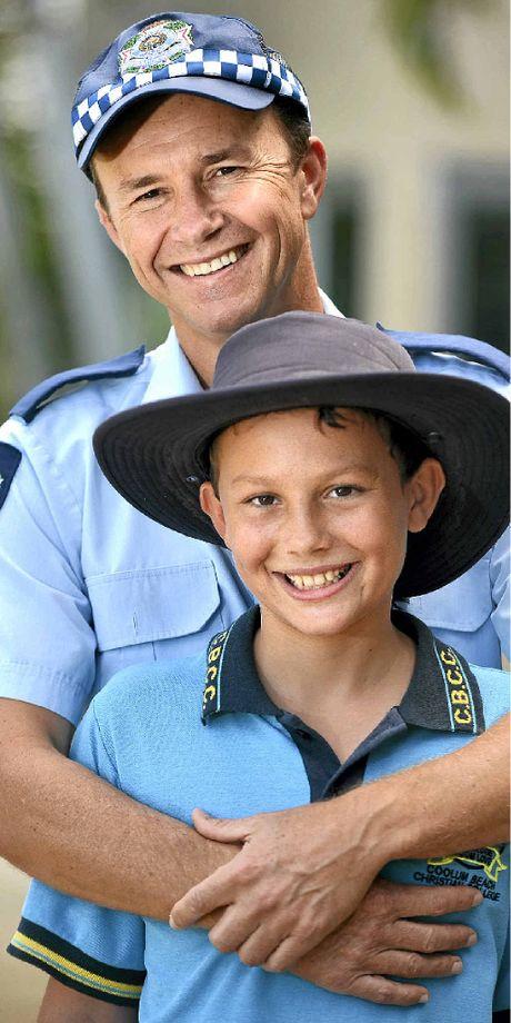 GRATEFUL: Sen Const Pierre Senekal with his cancer survivor son, Peter.