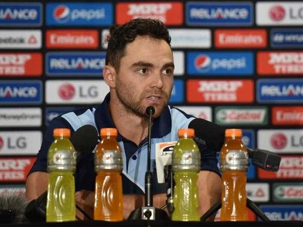 Scotland cricket captain Preston Mommsen speaks at a press conference in Sydney on February 8, 2015, ahead of the 2015 Cricket World Cup which will be jointly hosted by Australia and New Zealand from February 14 to March 29.