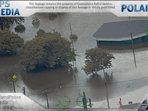 Police chopper captures Gympie floods from above
