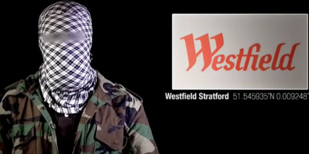 The Westfield logo flashes across the screen in the latest Shebab terror video. Photo / Screengrab