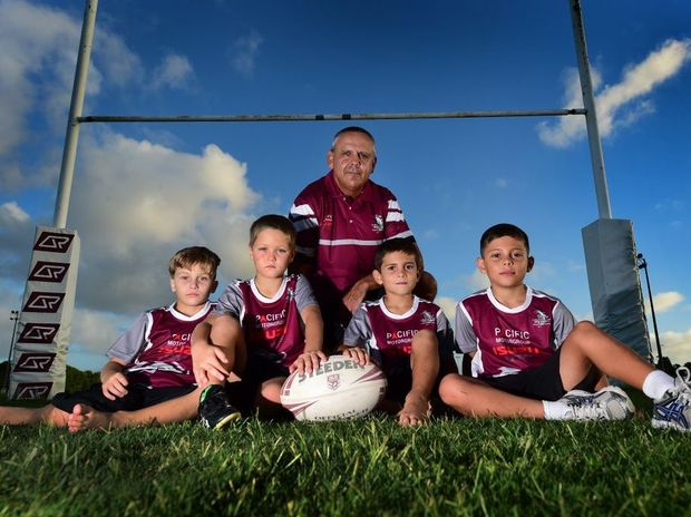Kawana's junior rugby league club players (left) Cooper Leitch, Keagan Zanchetta, Tommy Walker, Ryan Krome with coach Mick Buckley, are united in the wake of the recent NRL drug crisis. Photo: Iain Curry / Sunshine Coast Daily