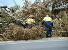 crews work to clear debris from Lacks Creek Road. Photo Allan Reinikka / The Morning Bulletin