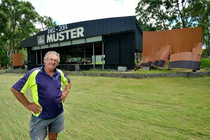 Clean up after Tropical Cyclone Marcia: The Gympie Muster site, Amamoor, received considerable flood damage to the main stage and surrounding fence lines. February 24, 2015. Pictured, John Anderson, supervisor Skill Centre. Photo Patrick Woods / Gympie Times