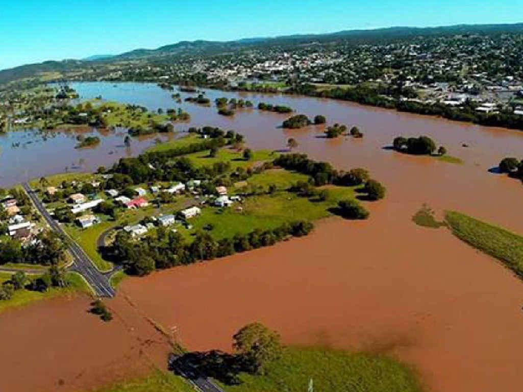A Drone flies over Gympie after flooding caused by Tropical Cyclone Marcia