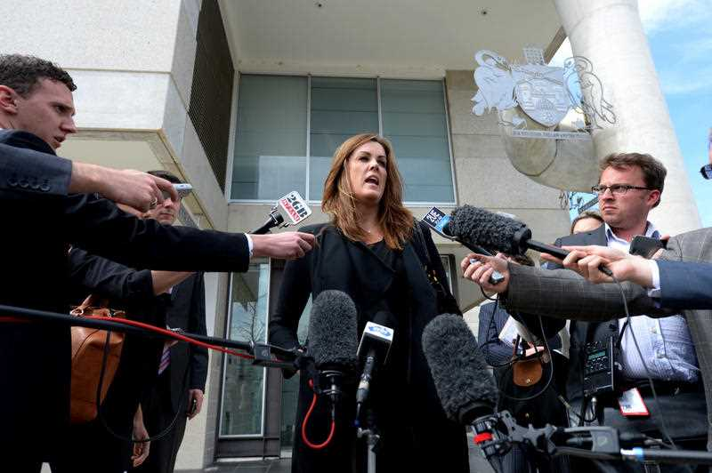 Tony Abbott's chief of staff, Peta Credlin, speaks to the media as she leaves the Magistrates Court in Canberra, Tuesday, Sep. 10, 2013. Ms Credlin pleaded guilty to drink driving charges.