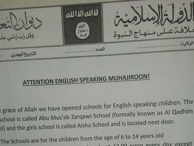 The Isis flier, claiming that two English-language schools have been opened in its 'capital' Raqqa