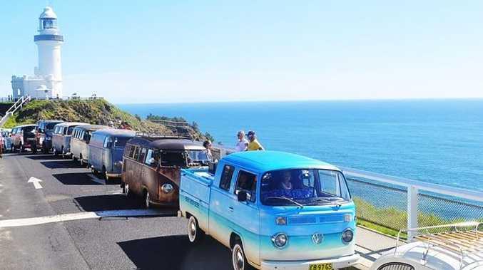 KOMBINATION: Byron Bay Kombi Club gathered at the Byron Bay Lighthouse on Australi Day.