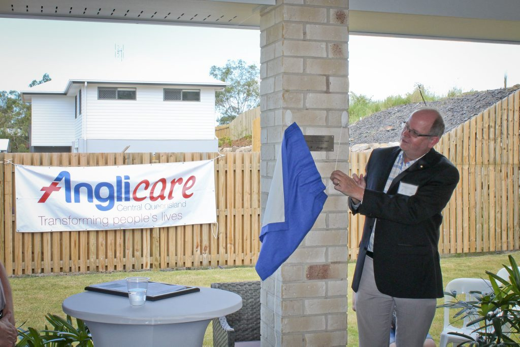 Gladstone Foundation chairman Tim Griffin officially opens the first Anglicare care house.