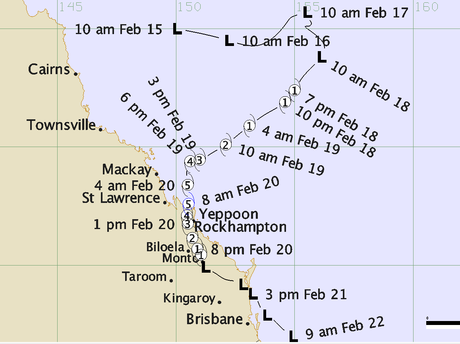 The path of Cyclone Marcia from February 17 to its disappearance on February 22