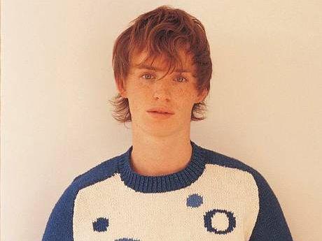 Eddie Redmayne, now 33, modelling for Rowan Yarns catalogue when he was 22