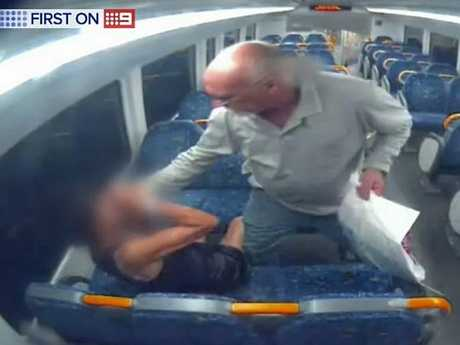 After hitting the woman, David Marlin then proceeds to attack her. Image: 9News