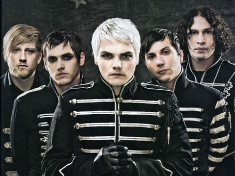 Gerard Way, centre, pictured during his time as the lead singer of My Chemical Romance.