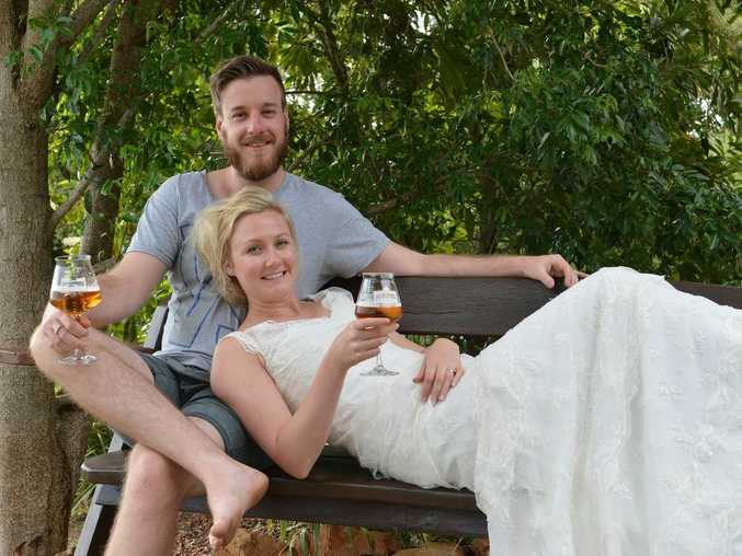 The brewer with his bride. Cameron Manson formerly of Gympie and now running a micro brewery business in Norway with his bride Fam. They were married on Saturday, February 7 at Noosa. Photo: Greg Miller / Gympie Times