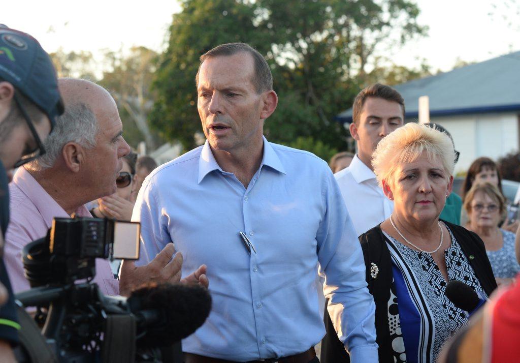 PM Tony Abbott speaking to locals in Yeppoon. Photo Allan Reinikka / The Morning Bulletin