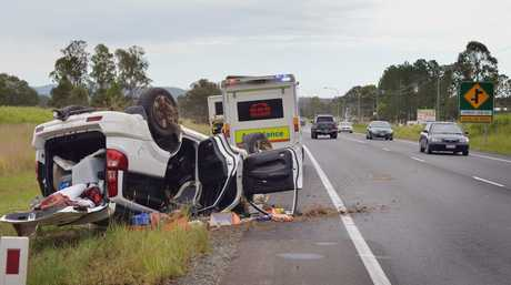 Single vehicle accident approx 300 metres south or Arbor 10 Road, intersection with Bruce Highway, Glenwood. Photo: Greg Miller / Gympie Times