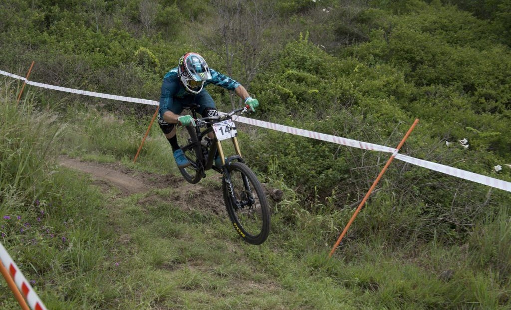 Toowoomba's Jared Graves competes in today's Oceania Mountain Bike Championships down hill final at Jubilee Park.