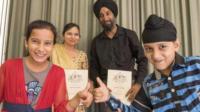 WELCOME NEW CITIZENS: Sachprett Kaur, Satbir Kaur, Harminder Singh and Arshpreet Singh after officially becoming Australians.