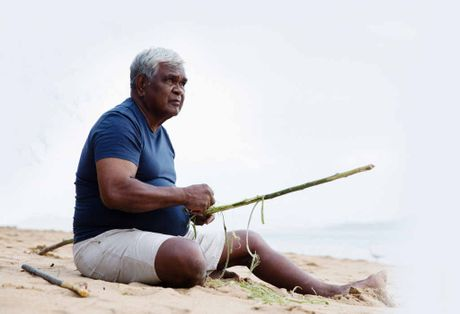 Russell Butler, a Bandjin traditional owner from Hinchinbrook Island, in a scene from the documentary TV series Life on the Reef. RIGHT: A turtle comes ashore to lay its eggs on Raine Island.