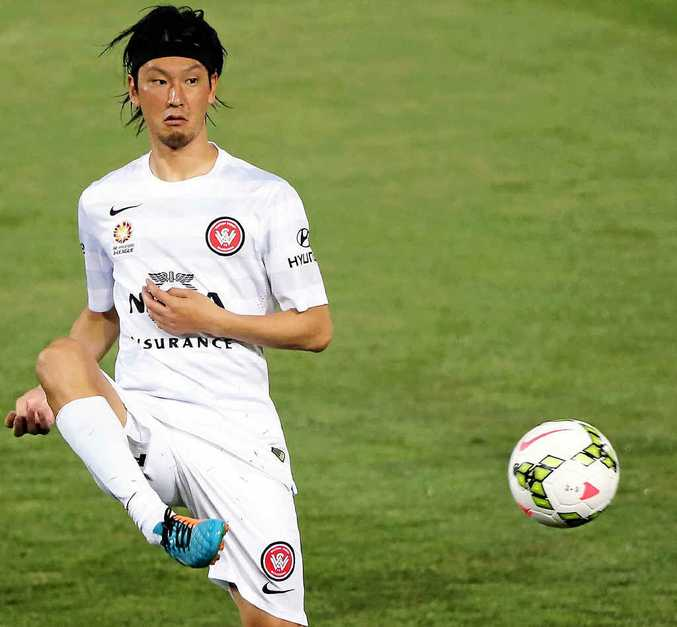 HIGH HOPES: Yojiro Takahagi in action for the Wanderers against Adelaide United at Coopers Stadium last week.