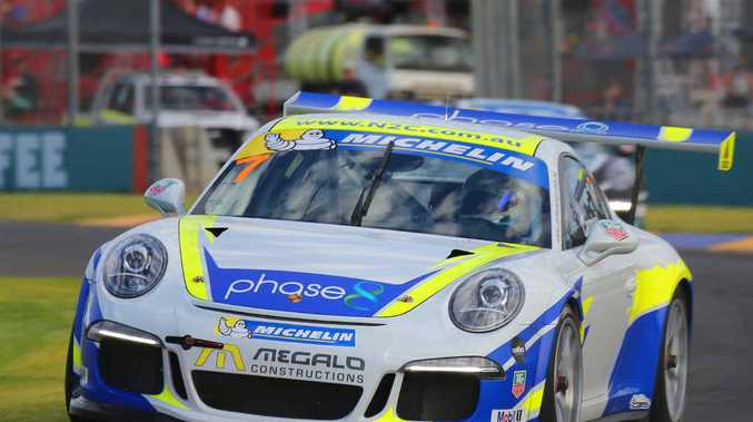 Matt Campbell in action during the Porsche Carrera Cup as part of the Clipsal 500 yesterday.