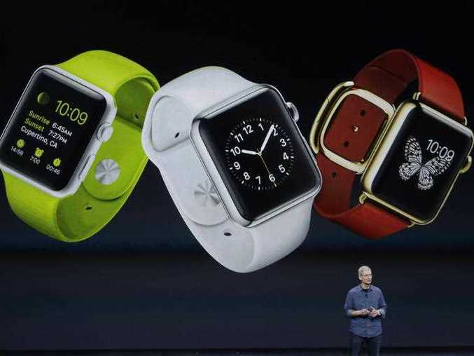 Apple CEO Tim Cook introduces Apple Watch on Tuesday, Sept. 9, 2014, in Cupertino, Calif.