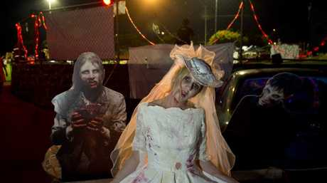 Denice Beezley dressed as a zombie bride.