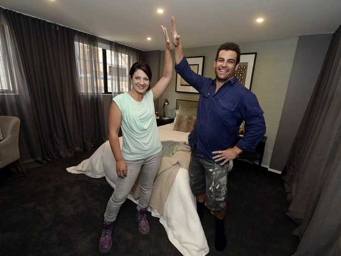 Tim and Anastasia in their winning guest bedroom on The Block Triple Threat.