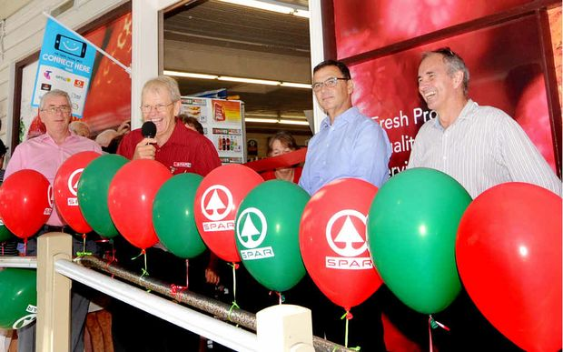 SPEECH TIME: Dr Gordon Campbell, owner Bob Little, Lou Jardin and Chris Gulaptis MP at the Spar supermarket renovation official opening in Maclean. MORE PHOTOS P9 Photo: Leigh Jensen