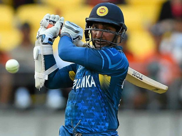 IN THE RUNS: Kumar Sangakkara plays another big shot on his way to a hundred against England.