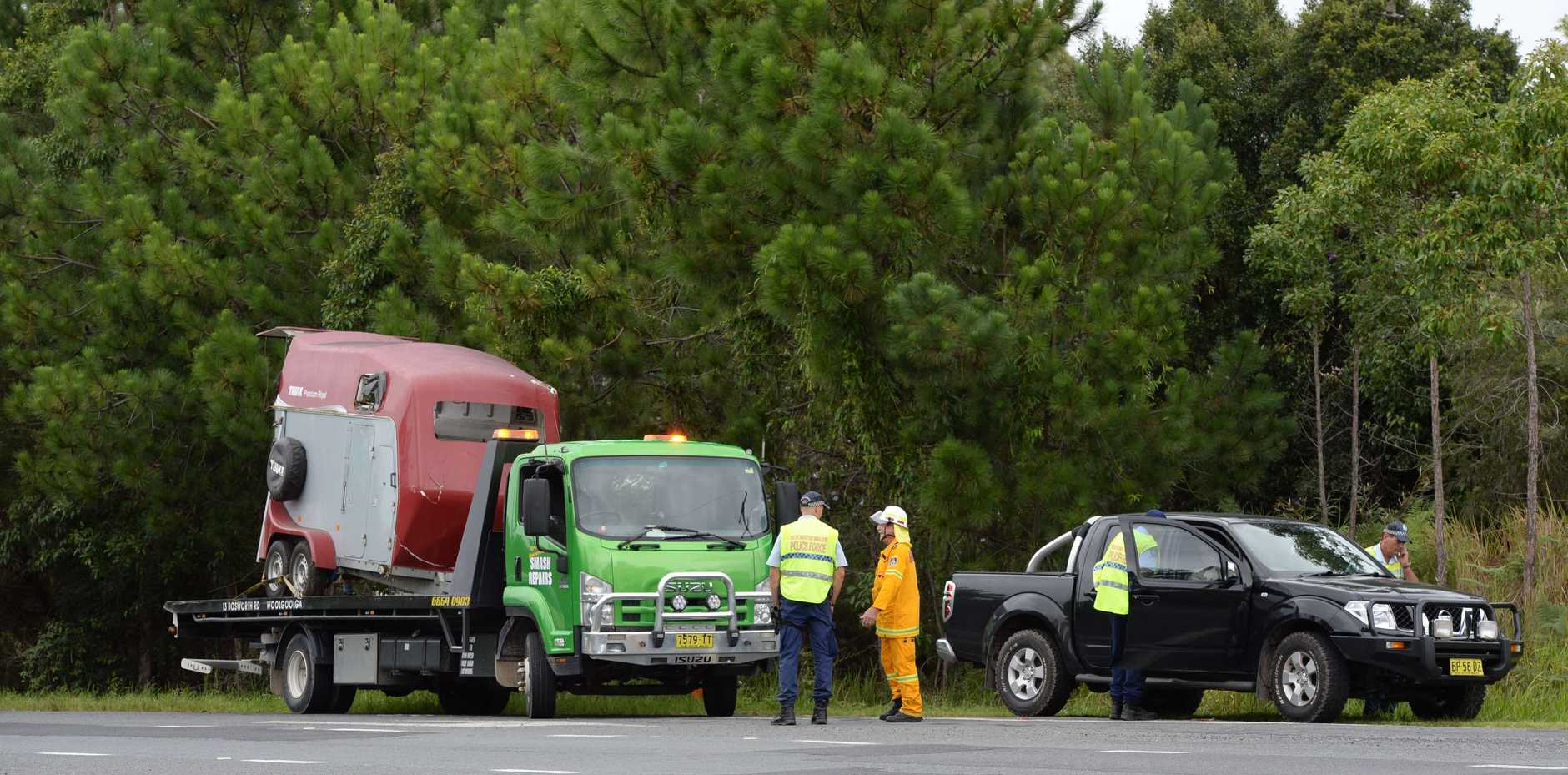 A horse survived after the float it was being towed in detached from a 4WD and overturned on the Pacific Hwy at Blackadder Creek, Corindi Beach this afternoon.