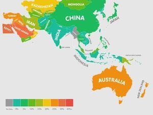Australia a chubby orange on map of world obesity