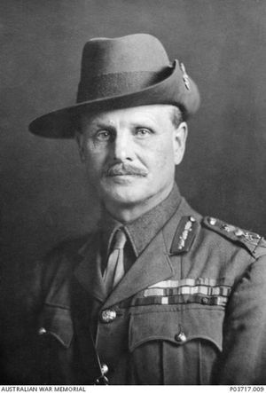 British general William Birdwood, commander of the Anzacs, pictured here wearing a slouch hat given to him by the Australians. Courtesy of Australian War Memorial P03717.009