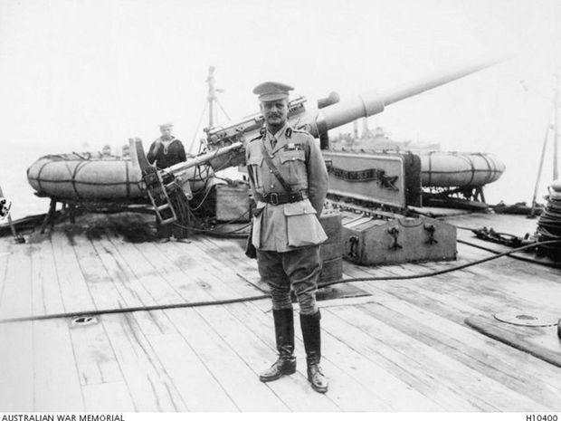 General Birdwood on deck a British navy ship, from where he got his first glimpse of the challenge the Dardanelles campaign would present.