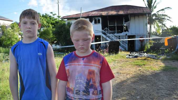 Park Avenue brothers Sebastian Carr, 10, and Cameron Carr, 7, are devastated their home has been destroyed by fire. Photo Austin King / The Morning Bulletin