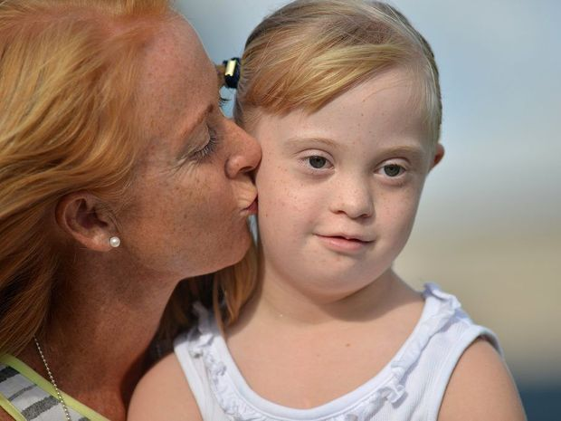 Rebecca's daughter Liliana has Down Syndrome and the family often use disabled parking but are sometimes judged by people Photo: Warren Lynam / Sunshine Coast Daily