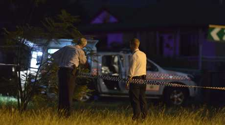 Police at the scene of the triple fatal shooting at Biddeston, west of Toowoomba.