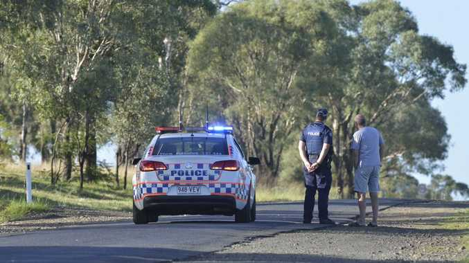 Police investigate a triple shooting at Biddeston, 25km west of Toowoomba, this morning.