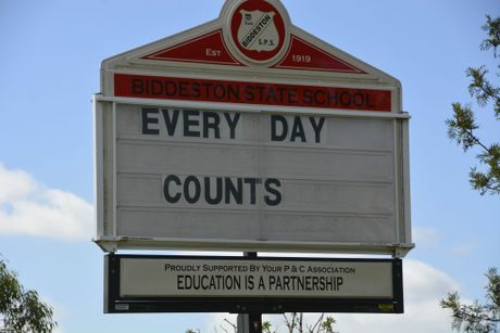 The sign outside Biddeston State School.