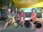Emma Smith from Mocka Balance Bikes with youngsters (L-R) Thomas Stevens, Eli Jennings and Zac McFarland trying out some balance bikes ahead of National Ride2School Day on March 13. Photo: Brett Wortman / Sunshine Coast Daily