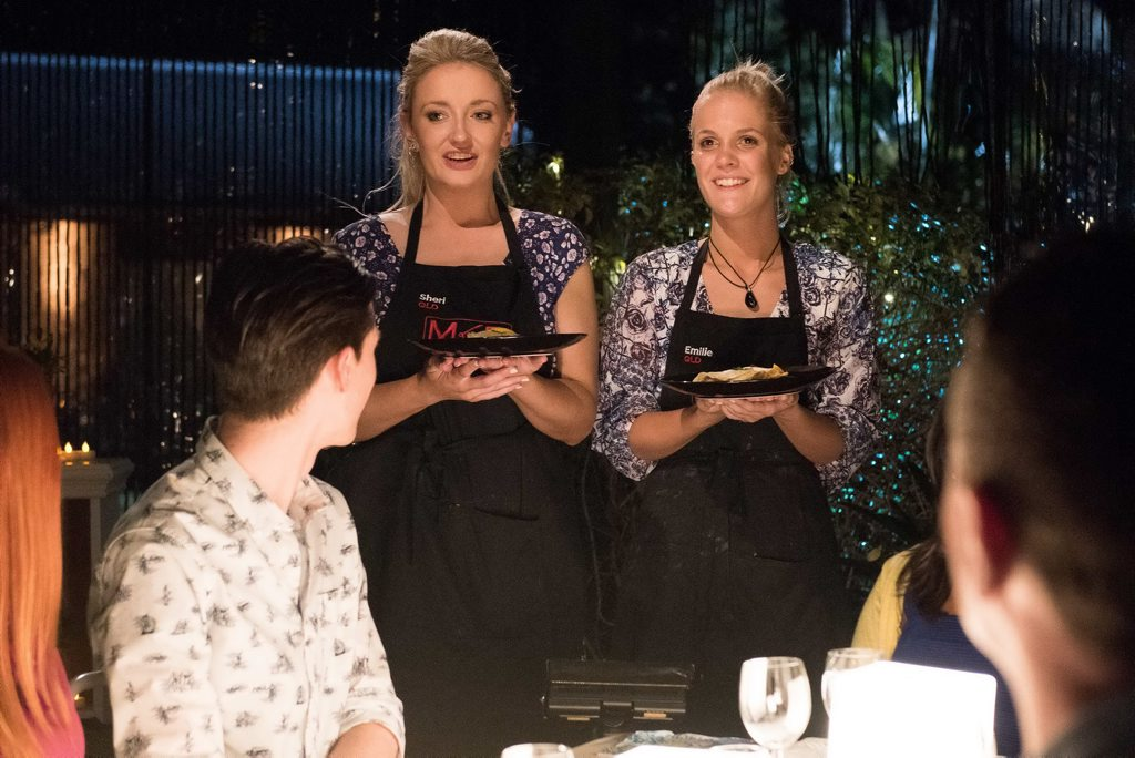 Sheri and Emilie serve their entree during their second