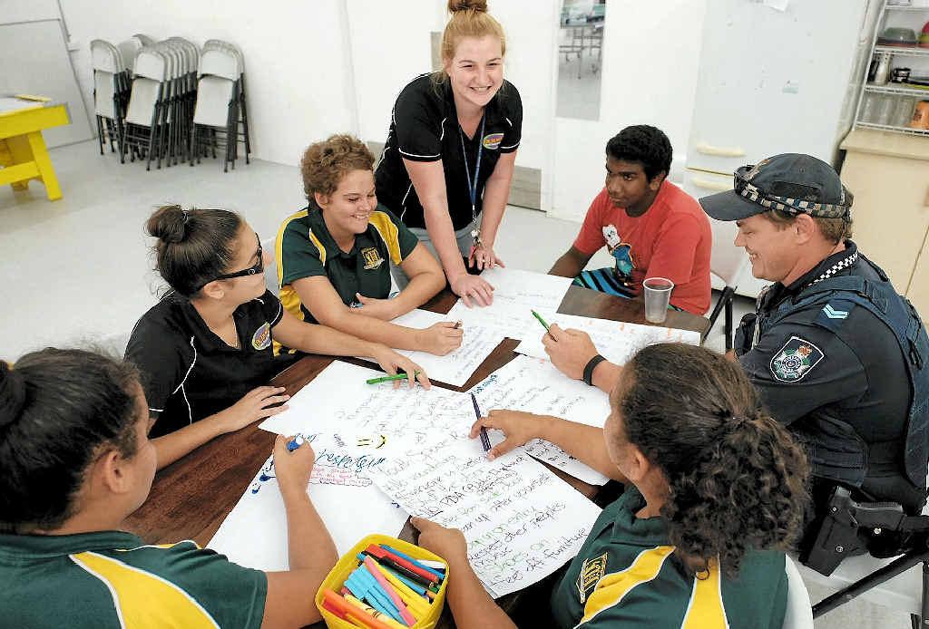 ROOM TO MOVE: Youthspace's Nataliya Gordon, Keisha McEwan, Sarah Rodgers, Emily Hopper, Anthony Kennedy, Nahkeeta Miller and Senior Constable Timothy Farran.