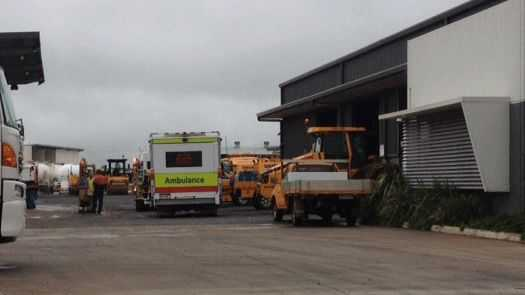 Emergency services at Sherrin Rentals in 2013 when a man was killed in a workplace incident.