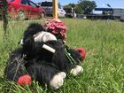 A stuffed gorilla left outside the home where seven-year-old Jackson, his mum and grandfather were found dead.